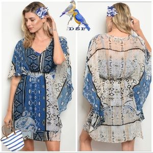 Dresses & Skirts - Blue / Ivory Tribal print Bat Wing Cape Mini Dress